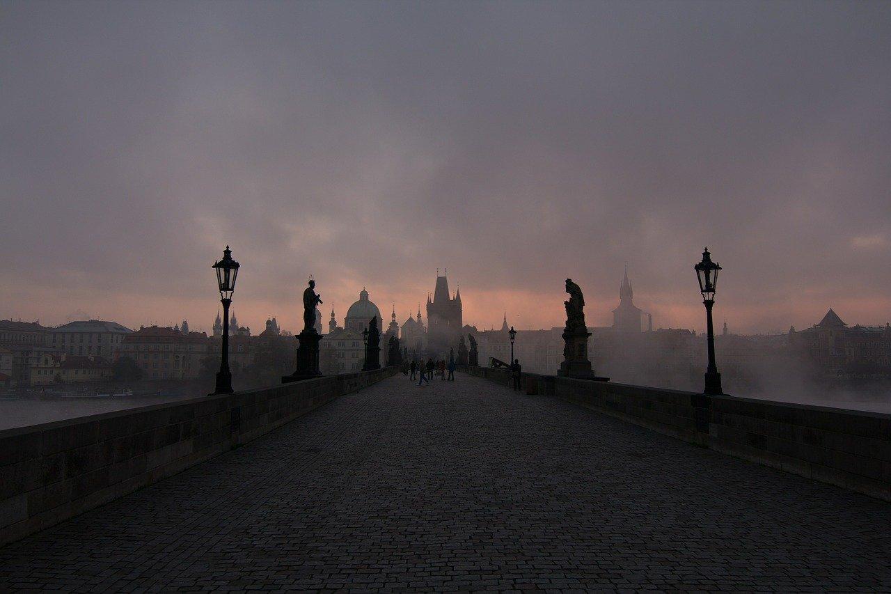 prague, bridge, fog